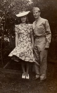 A photo of Anna and Dad when he was home on furlough in August of 1943.