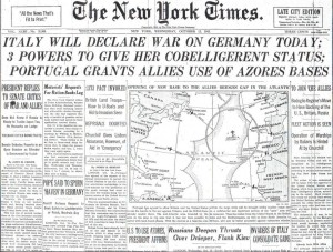 New York Times Front Page dated October 13, 1943.