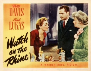 Poster Art for Watch on the Rhine starring Bette Davis. Image credit: www.themotionpictures.net