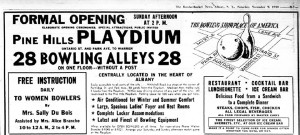 An ad for the Playdium where Anna went bowling with Eddie and a few friends to celebrate her 24th birthday.