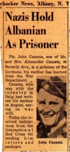 Clipping sent by Prof. Kosinski to Dad about Pfc. John Cazasta, one of their neighbors who was being held as a prisoner by the Nazis.