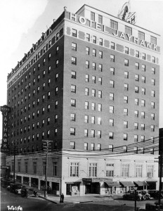 A 1930's era photo of the Jayhawk Hotel in Topeka where the one year anniversary of the 21st Bomb Wing was held. Image credit: Kansas Historical Society