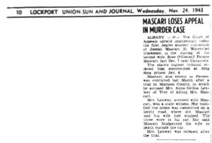 Clipping from November 24, 1943 about the denial of the appeal in the Mascari murder case.