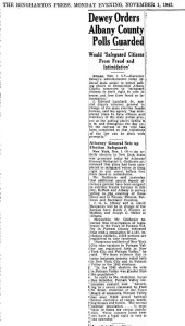 A November 1, 1943 clipping from the  Binghamton Press about the State Police that were ordered to polling places in Albany County on Election Day in 1943. Image Credit: www.fultonhistory.com