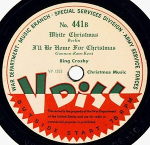 V-Disc label for Bing Crosby's White Christmas. Public Domain Image Credit: Wikipedia