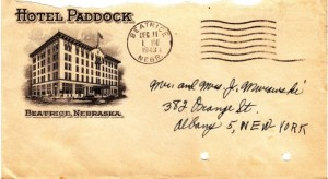 The envelope of the letter sent from the Hotel Paddock in Beatrice, Nebraska