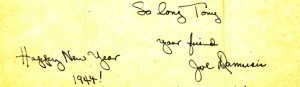 Joe signs off and wishes Dad a happy 1944