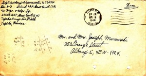 The envelope of Dad's April 10, 1944 (mailed on April 11) letter with his new address on it.