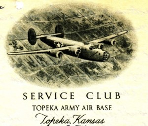 Image from the letterhead of the Service Club at Topeka Army Air Base featuring a drawing of a B-24 Liberator