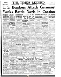The Troy, NY Times Record front page from March 16, 1944 with news of an Allied bombing raid in Germany in which the 401st Bomb Group participated. You can click on the image above to go to a .pdf of the page to read the account.  File credit www.fultonhistory.com