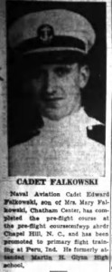A clipping from the July, 3, 1943 edition of the Albany Times-Union with a photo of Eddie Falkowski.
