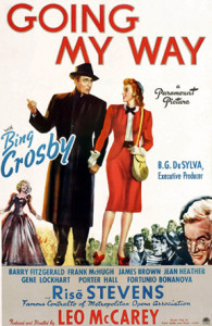 Poster art for Going my Way, the 1944 movie starring Bing Crosby. https://en.wikipedia.org/wiki/File:GoingmywayBing.jpg