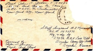 Envelope from Capt. Jordan's latter dated May 15, 1944. Note that the letter did not pass through the hands of a censor other than those of Capt. Jordan himself.