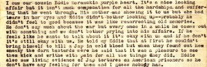Anna describes a visit with her cousin Edward Morawski where she saw the Purple Heart that he was awarded for injuries sustained on Guadalcanal.