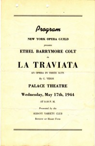 Cover for the program of the performance of La Traviata that the St. Cecelia's choir attended.