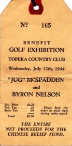 Ticket for the Golf Benefit that Dad attended at the Topeka Country Club.