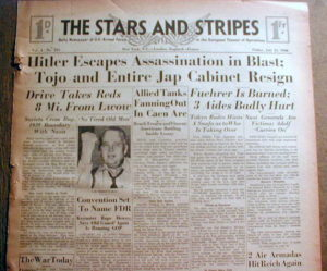Stars and Stripes headline reporting on the  war news of the day.