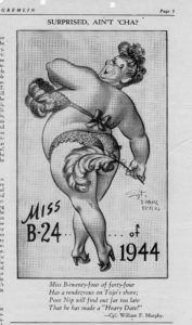"Clipping of ""Miss B-14 1944"" from The Gremlin, the newspaper of Topeka Army Air Base."