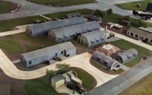 "Photo of the Quonset huts in the Deenethorpe Diorama at the Mighty 8th Air Force Museum. When mama saw a picture of Stanley in front of the Quonset huts in Deenethorpe she cried in despair that her son ""has to live in such ash barrels."""