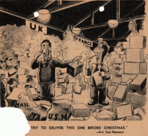 A cartoon from Yank Magazine the was enclosed with Stanley's December 10, 1944 letter to Dad which lampooned the goings on in an Army mail room.