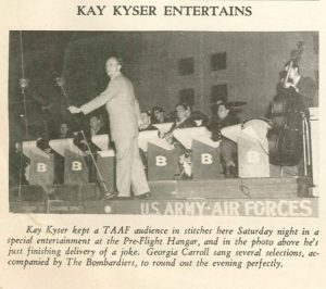 A clipping from The Gremlin, the base newspaper, about an appearance by Kay Kyser.