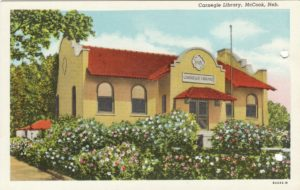 Post Card Image of the Carnegie Library in McCook Nebraska.