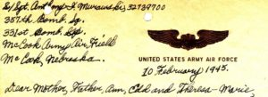Return Address from Dad's letter of February 10, 1945. This is the first time he indicates in his return address that he is with the 331st Bomb Group.