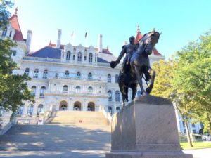 Statue of Gen. Sheridan in front of the NY Statehouse in Albany.  Photo credit www.allaboutalbany.com