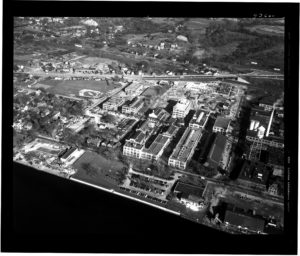 1946 Aerial view of industrial complex in Rensselaer which includes the General Analine dyeworks