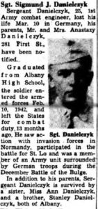 "A notice that appeared in the March 23, 1945 edition of the Knickerbocker News regarding the death of Sigmund ""Ziggy"" Danielczyk."