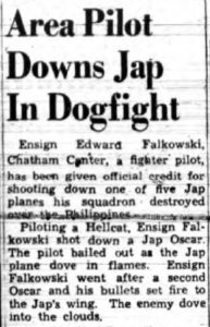 Clipping from  the January 23, 1945 Knickerbocker News reporting on Eddie Falkowski's shooting down of a Japanese fighter.
