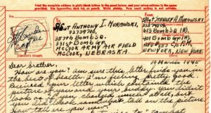 Header from the letter that Stanley sent to Dad on March 10, 1945